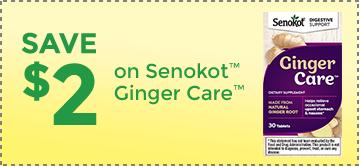 Senokot® Ginger Care™ Dietary Supplement Special Offer