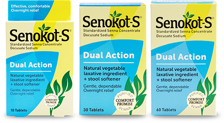 Gentle and Overnight Relief from Occasional Constipation | Senokot-S® Dual Action Laxative plus Stool Softener